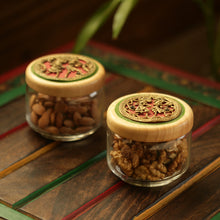 Load image into Gallery viewer, 'Dhokra Delicacies' Hand-Painted Snacks Jar Set In Glass & Wood