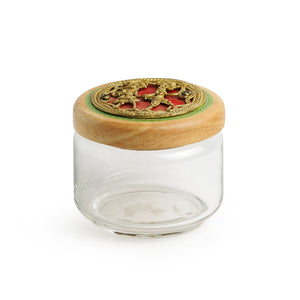 'Dhokra Delicacies' Hand-Painted Snacks Jar Set In Glass & Wood