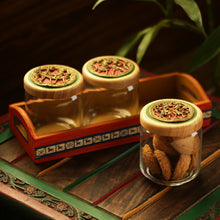 Load image into Gallery viewer, 'Three's A Tribe' Dhokra Snacks Jar Set In Glass With Warli Hand-Painted Wooden Tray
