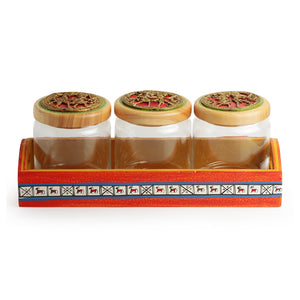 'Three's A Tribe' Dhokra Snacks Jar Set In Glass With Warli Hand-Painted Wooden Tray