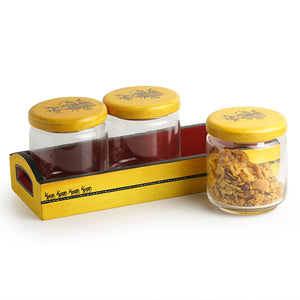 'Yellow Tripling' Warli Hand-Painted Snacks Jar Set In Glass With Wooden Tray