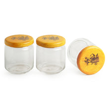 Load image into Gallery viewer, 'Yellow Tripling' Warli Hand-Painted Snacks Jar Set In Glass With Wooden Tray