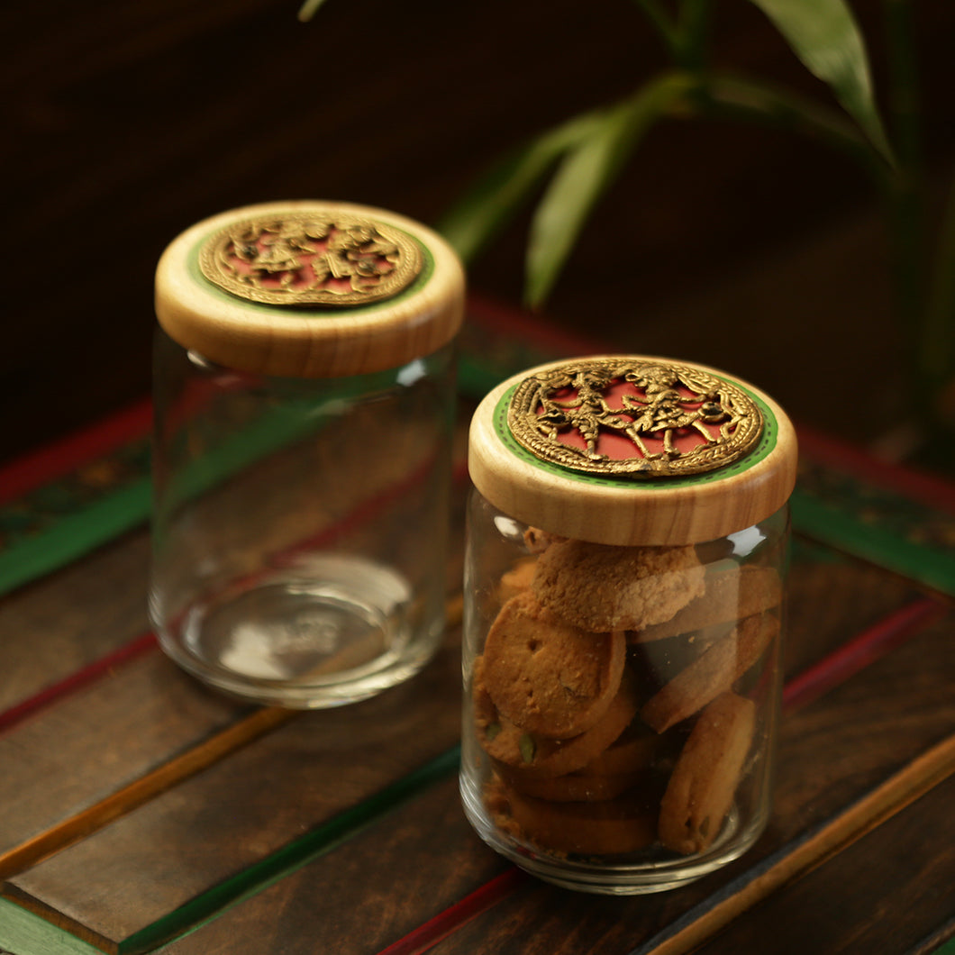 'Duals Of Dhokra' Hand-Painted Snacks & Cookies Jar Set In Glass & Wood