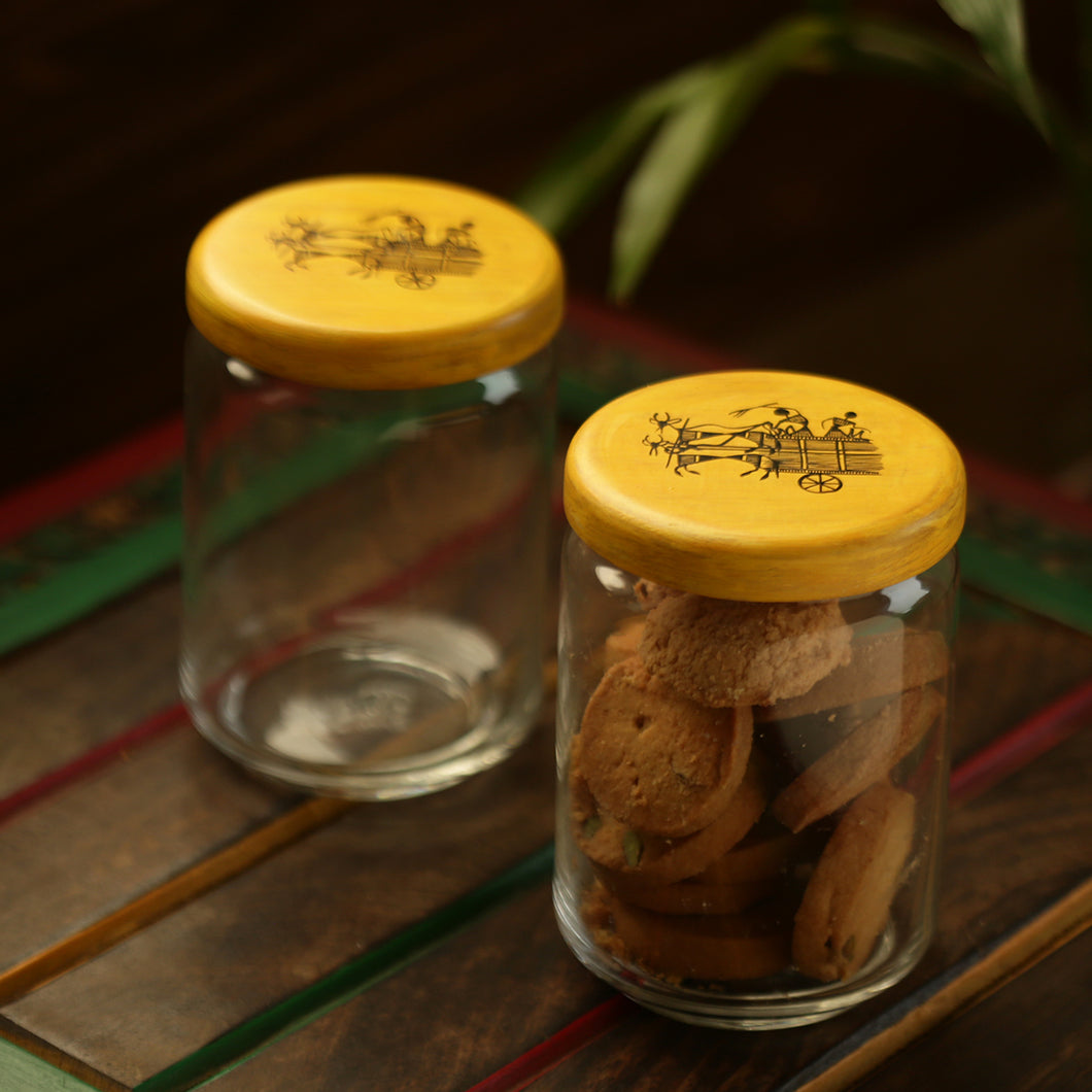 'Duals Of Warli' Hand-Painted Snacks & Cookies Jar Set In Glass & Wood