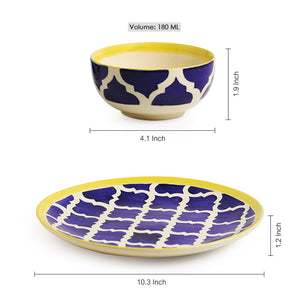 'Moroccan Platter Pack' Handpainted Plate With Serving Bowl Set Of 2 In Ceramic