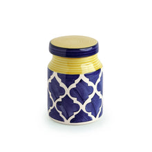 Load image into Gallery viewer, The 'Moroccan Essential' Hand-Painted Multi Utility Storage Ceramic Jar (5.3 Inch, 550 ML)