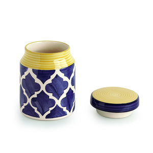 The 'Moroccan Essential' Hand-Painted Multi Utility Storage Ceramic Jar (5.3 Inch, 550 ML)