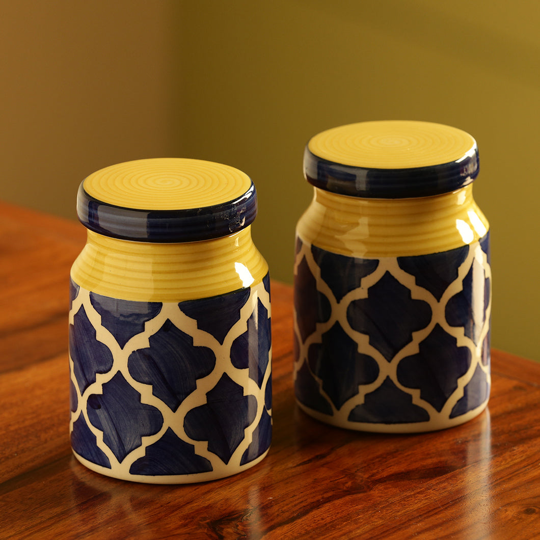 The 'Moroccan Essentials' Hand-Painted Multi Utility Storage Ceramic Jars (5.3 Inch, 500 ML, Set Of 2)