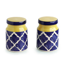 Load image into Gallery viewer, The 'Moroccan Essentials' Hand-Painted Multi Utility Storage Ceramic Jars (5.3 Inch, 500 ML, Set Of 2)