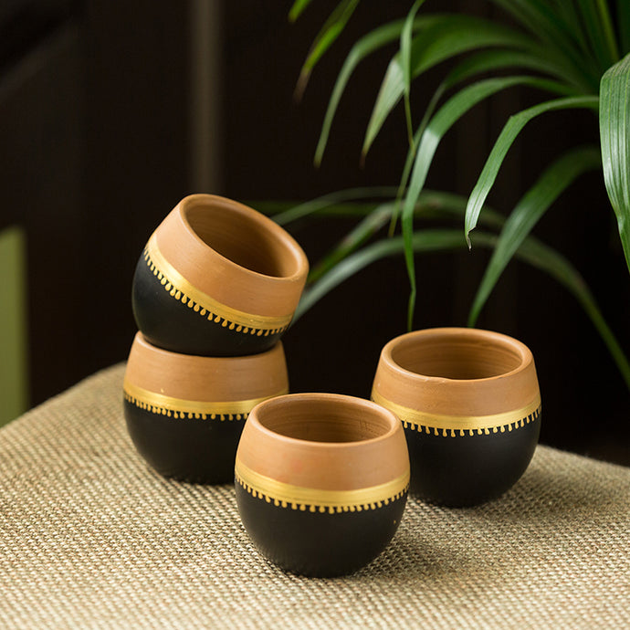 'Terra-Sips' Hand-Painted Kullads In Earthen Terracotta (Set Of 4)