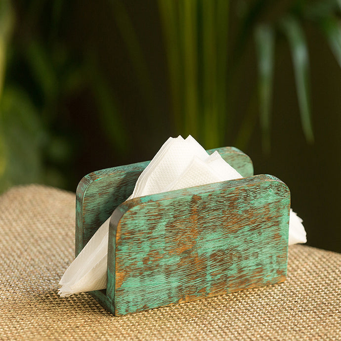 'Teal Hues' Antique Finish Napkin Holder In Mango Wood