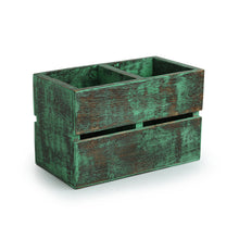 Load image into Gallery viewer, 'Rustic Cuboid' Antique Finish Cutlery Holder In Mango Wood (2 Partitions)