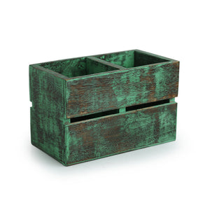 'Rustic Cuboid' Antique Finish Cutlery Holder In Mango Wood (2 Partitions)