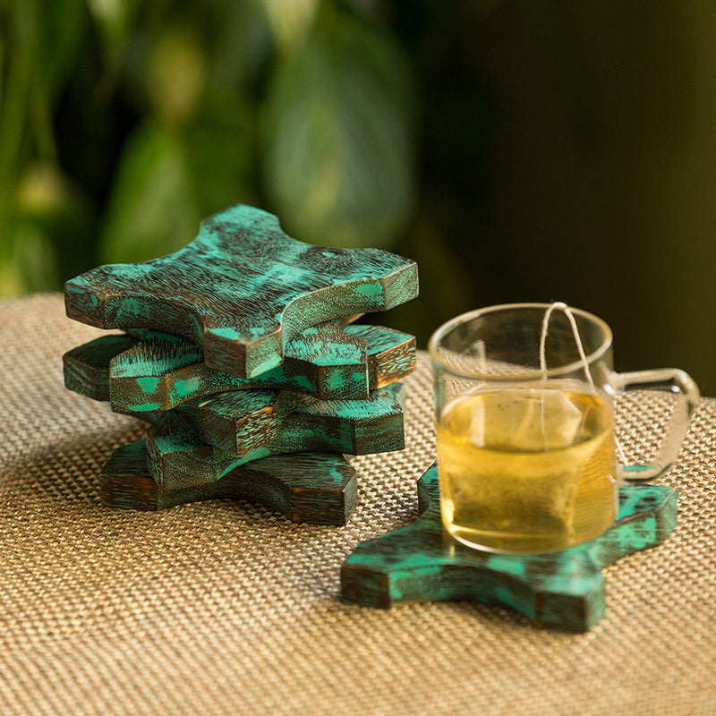 'Celestial Teal Stars' Antique Finish Coasters In Mango Wood (Set Of 6)