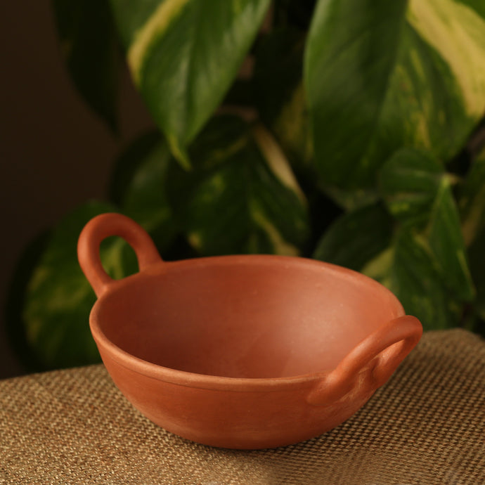 Handmade Earthen Clay Kadhai With Handle