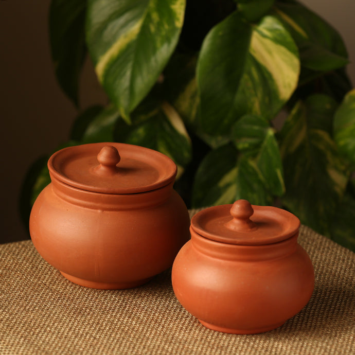 Handmade Earthen Clay Serving Handis With Lids (Set Of 2)