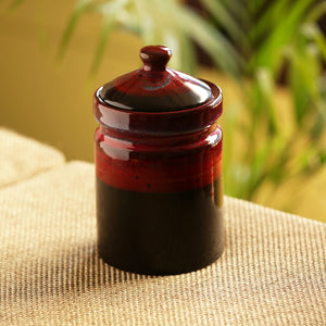 'Magma Echoing' Hand Glazed Studio Pottery Ceramic Multi-Utility Storage Jars & Containers (940 ML)