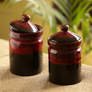 'Magma Echoing' Hand Glazed Studio Pottery Ceramic Multi-Utility Storage Jars & Containers (940 ML, Set Of 2)