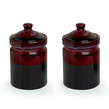 Load image into Gallery viewer, 'Magma Echoing' Hand Glazed Studio Pottery Ceramic Multi-Utility Storage Jars & Containers (940 ML, Set Of 2)