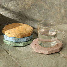 Load image into Gallery viewer, The Pastel Octave Quadruplets' Handcrafted Terrazzo Coasters In Concrete (Set Of 4)