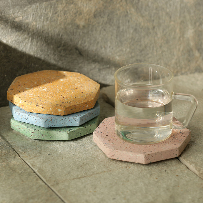 The Pastel Octave Quadruplets' Handcrafted Terrazzo Coasters In Concrete (Set Of 4)