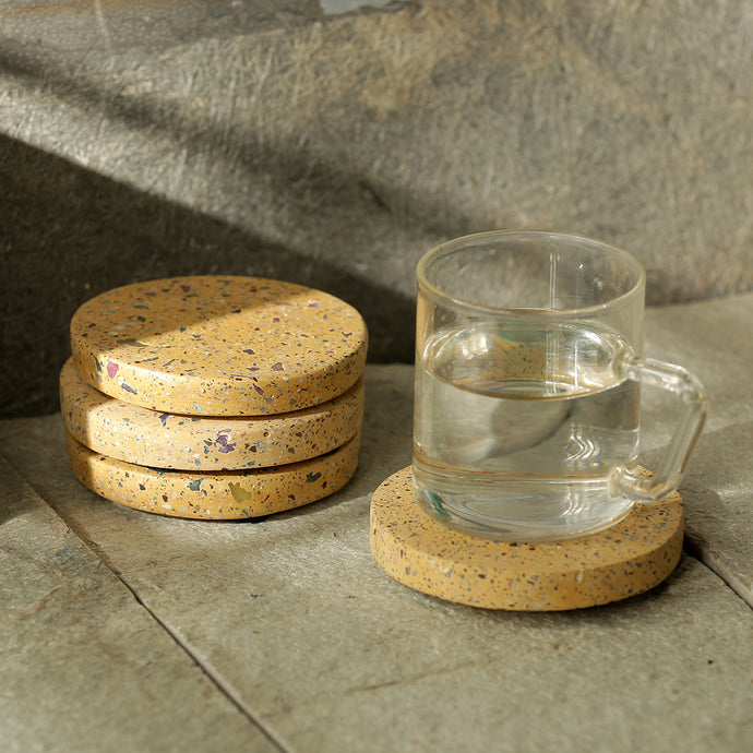 'The Creamy Coaster' Handcrafted Terrazzo Coasters In Concrete (Set Of 4)