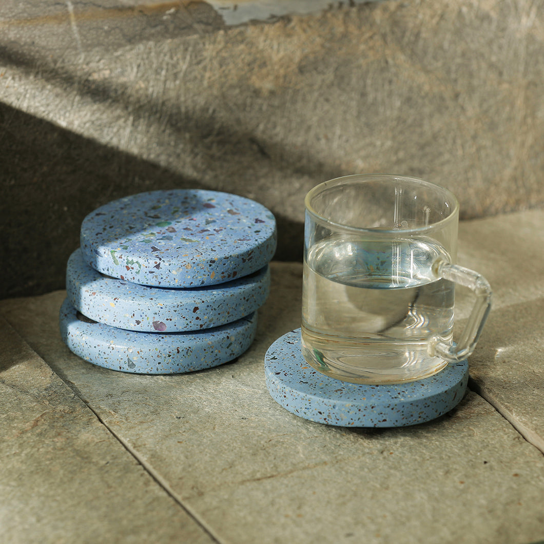 'The Circular Sky' Handcrafted Terrazzo Coasters In Concrete (Set Of 4)
