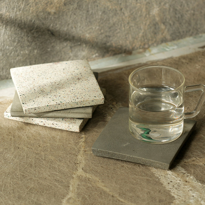 'The Grey-White' Handcrafted Terrazzo Coasters In Concrete (Set Of 4)