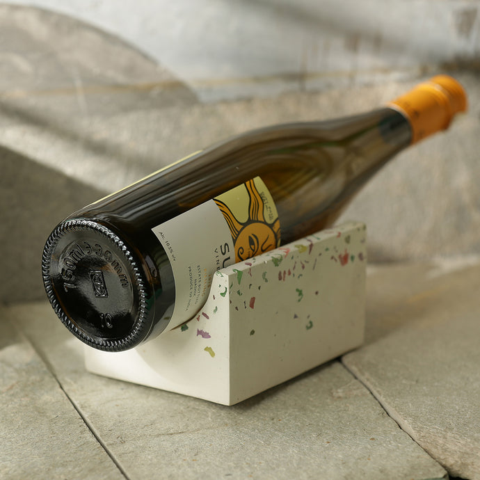 'The Cuboidal White' Handcrafted Terrazzo Wine Bottle Holder In Concrete