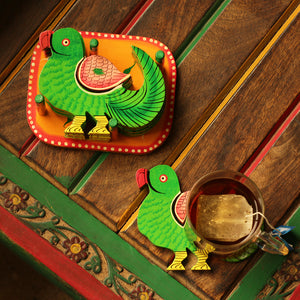'The Resting Parrots' Hand-Painted Coasters In Chilbil Wood (Set of 6)