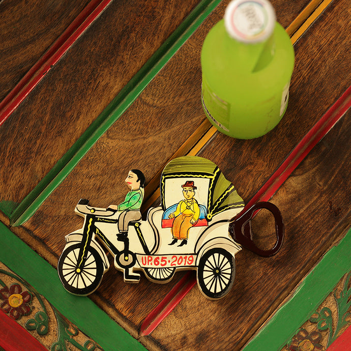 'The Riding Rickshaw' Hand-Painted Bottle Opener & Fridge Magnet In Chilbil Wood