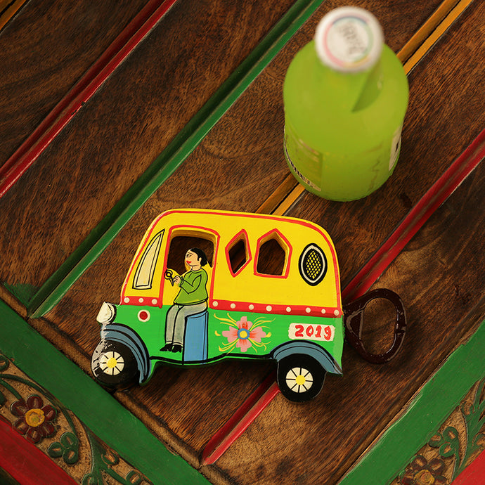 'The Riding Auto' Hand-Painted Bottle Opener & Fridge Magnet In Chilbil Wood