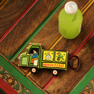 'The Riding Truck' Hand-Painted Bottle Opener & Fridge Magnet In Chilbil Wood