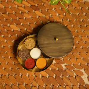 """Masala Blends"" Handcrafted Round Spice Box In Pure Brass (7 Containers)"