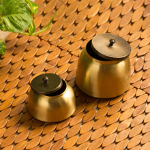 "Load image into Gallery viewer, ""Golden Coupled"" Handcrafted Pure Brass Multi Utility Storage Jars (Set Of 2)"