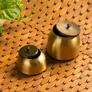 """Golden Coupled"" Handcrafted Pure Brass Multi Utility Storage Jars (Set Of 2)"