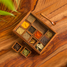 """""""Twelve Blends"""" Spice Box With 12 Containers & Spoon In Sheesham Wood"""