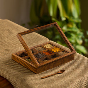 """Twelve Blends"" Spice Box With 12 Containers & Spoon In Sheesham Wood"