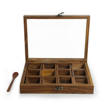 "Load image into Gallery viewer, ""Twelve Blends"" Spice Box With 12 Containers & Spoon In Sheesham Wood"