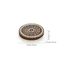 "Load image into Gallery viewer, ""Magnificent Mandala"" Hand-Carved Blocks & Tea Coasters In Sheesham Wood (Set of 4)"