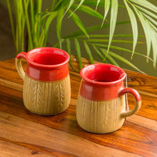 "Load image into Gallery viewer, ""Leaf Sips"" Handcarved & Handglazed Studio Pottery Coffee & Tea Mugs In Ceramic (Set of 2)"