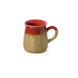 """Leaf Sips"" Handcarved & Handglazed Studio Pottery Coffee & Tea Mugs In Ceramic (Set of 2)"