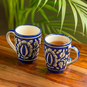 """Floral Mughal"" Hand-Painted Studio Pottery Coffee & Tea Mugs In Ceramic (Set of 2)"