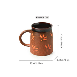 """Leaf Sips"" Hand-Painted & Handglazed Studio Pottery Coffee & Tea Mugs In Ceramic (Set of 2)"