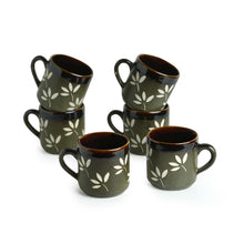 "Load image into Gallery viewer, ""Leaf Sips"" Hand-Painted & Handglazed Studio Pottery Coffee & Tea Cups In Ceramic (Set of 6)"