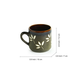 """Leaf Sips"" Hand-Painted & Handglazed Studio Pottery Coffee & Tea Cups In Ceramic (Set of 6)"