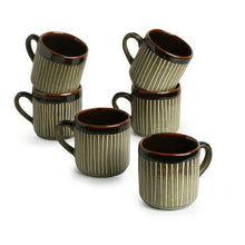 "Load image into Gallery viewer, ""Line Sips"" Hand-Painted & Handglazed Studio Pottery Coffee & Tea Cups In Ceramic (Set of 6)"