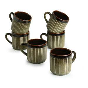 """Line Sips"" Hand-Painted & Handglazed Studio Pottery Coffee & Tea Cups In Ceramic (Set of 6)"