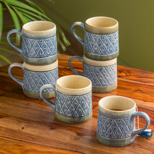 """Mughal Tessellation"" Handcarved & Hand-Painted Handglazed Studio Pottery Coffee & Tea Cups In Ceramic (Set of 6)"