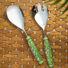 "Load image into Gallery viewer, ""The Mughal Zahri"" Hand-Painted Serving Spoon & Fork Set In Stainless Steel & Ceramic (Set of 2)"
